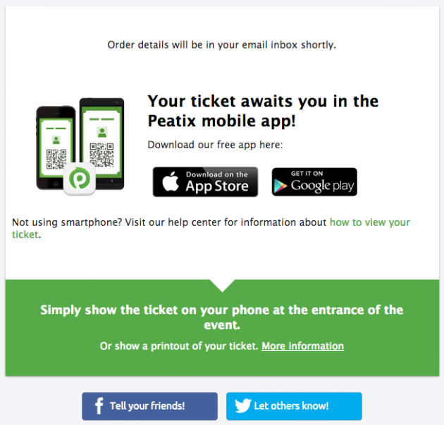 Confirm your online mobile event ticket on Peatix