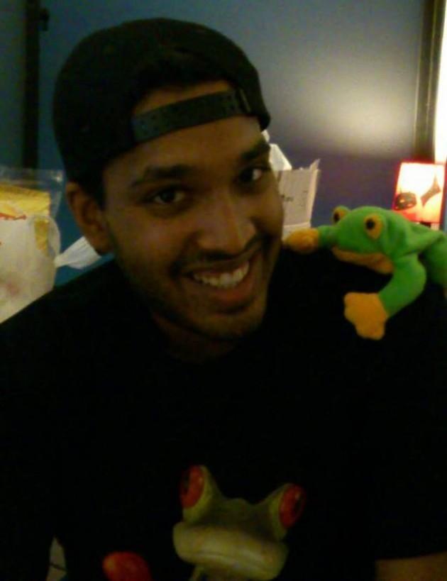 Nicholas with JFDI.Asia's mascot, Smoochy