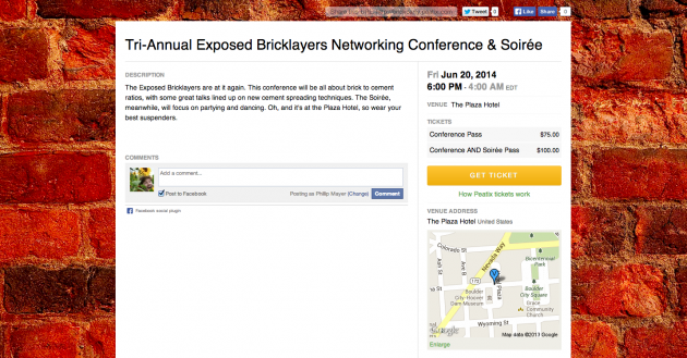 Bricklayers conference event page