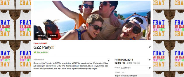 GZZ Peatix frat party page