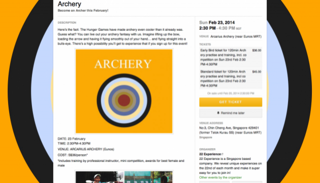Archery class event page
