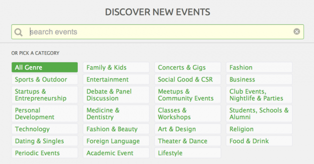 Search Peatix events by event genre